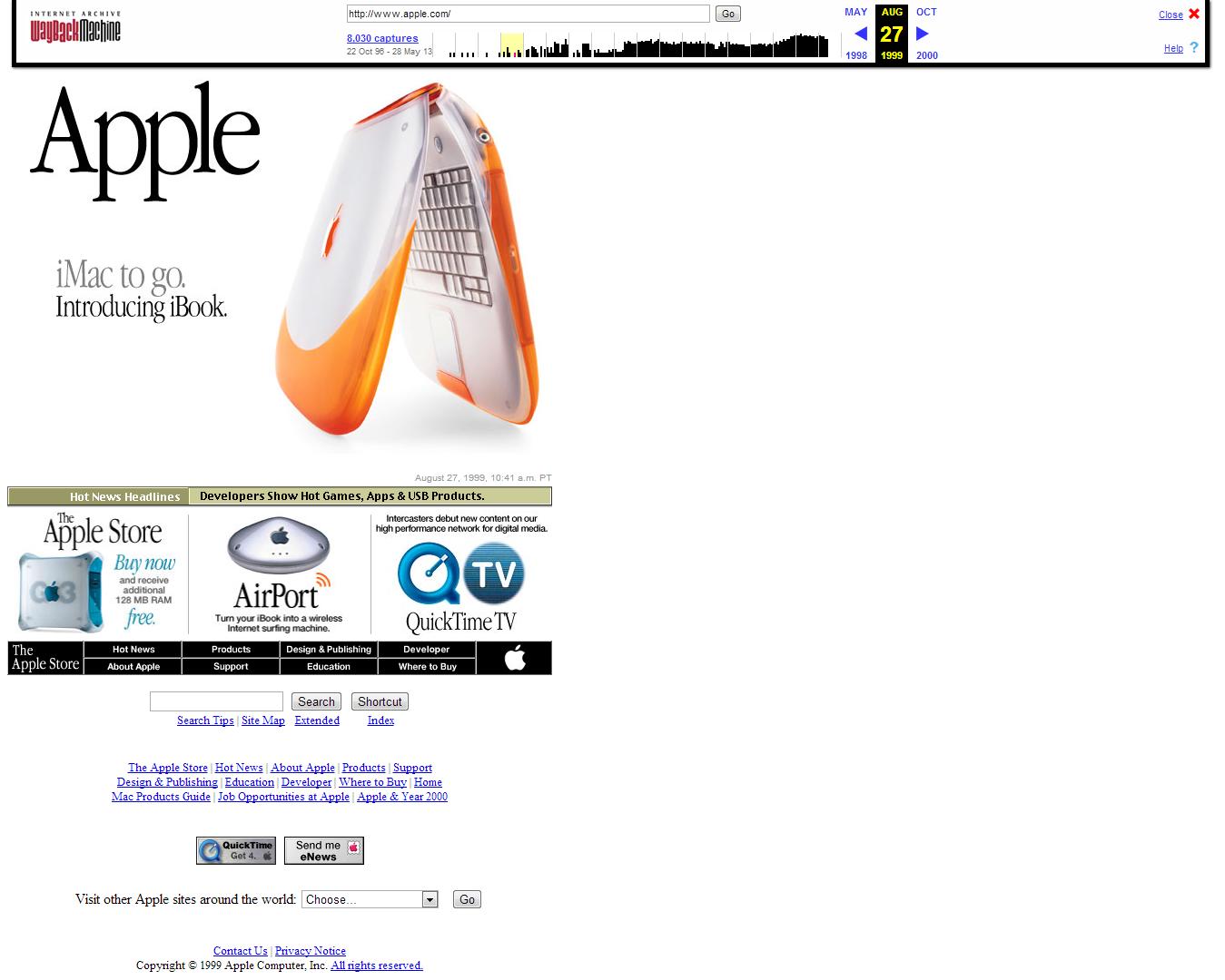 Apple Waybeck Machine - AUG 27 1999 - Apple Computer